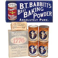 General store shelf stock, Babbitt's Baking Powder, Soap Powder, Soap, Cleanser & cdbd sign, all are