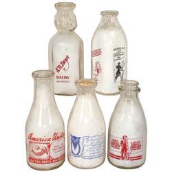 Advertising milk bottles (5), Hoppy's Favorite Dairylee Milk w/Hoppy paper cap, Plains Creamery War