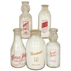 Advertising milk bottles (5), Hoppy's Favorite McClellan's Home Dairy-Lancaster, O., Borden's Half G