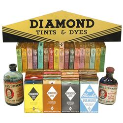 Diamond Dyes sign, 40+ sample display boxes of Diamond Dyes & (2) bottles of Mrs. Stewart's Liquid B