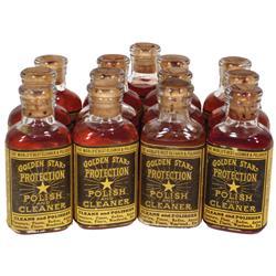Sample bottles of Golden Star Protection Polish & Cleaner (13), glass bottles w/cork tops & paper la