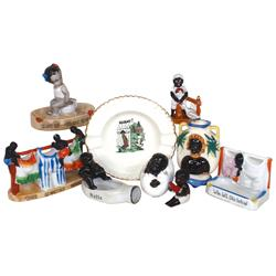 Black Americana (9 pcs), 5 ashtrays, cigarette & match holders, vase (Occupied Japan) & 3 figures, a