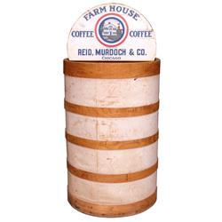 """Reid, Murdoch & Co. bulk coffee bin w/hinged display lid for Farm House Coffee, VG orig cond, 33""""H x"""