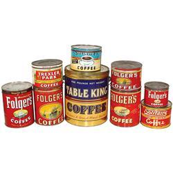 Coffee pail & coffee tins (9), Table King Coffee 5# pail, Santa Fe, Solitaire, Trexler Park & Folger