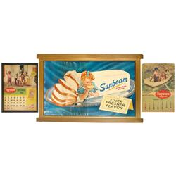 Sunbeam Bread sign, litho on cdbd in orig gold wood frame, c.1954 & 2 Taystee Bread calendar pages-A