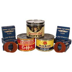 Coffee tins & jar rings, Princess Pat, Milady & Solitaire 1# tins & (6) new old stock boxes of Top F