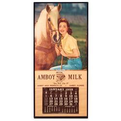 "Calendar, Amboy Milk, c.1958, cowgirl graphics, full calendar pad, metal frame, Exc cond, 34""H x 16"""