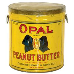 Opal Peanut Butter tin, mfgd by Charles Hewitt & Sons Co.-Des Moines, IA, held 25 lbs., litho on met