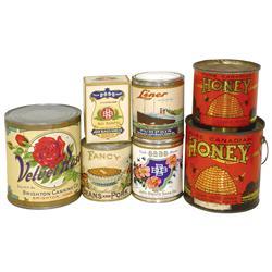 John Blaul's Sons Pumpkin cans & Black Raspberries box, Velvet Rose Pumpkin can, mfgd by Brighton Ca
