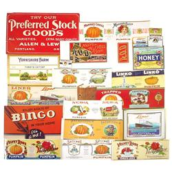 Country store can, box & bottle labels (100+), colorful paper labels from John Blaul's Sons, Brighto