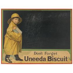 Uneeda Biscuit blackboard, litho on cdbd w/string hanger, red metal frame, Good to VG cond w/age spo