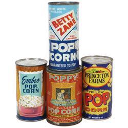 Popcorn tins (4), Poppy-Sac City & Storm Lake, IA, Embro-St. Louis, Princeton Farms-Princeton, IN (d