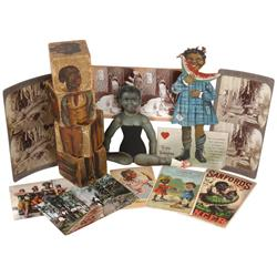 Black Americana trade cards (3), postcards (2), Valentine, jointed diecut figure, humorous stereopti