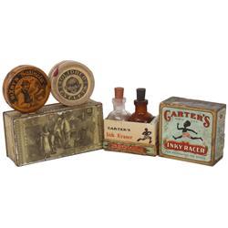Black Americana, Diamond Match Co. litho on tin box w/hinged lid, Carter's Inky Racer, Bixby's Satin