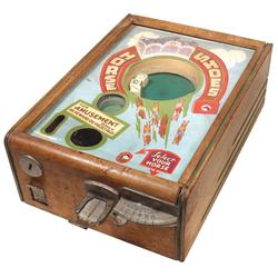 Coin-operated dicer w/gumball vendor, Horse Shoes, 1 Cent, c.1930-1940's, wood case, VG orig cond, 5