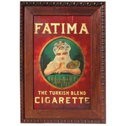 Fatima Cigarettes sign, litho on metal sign in heavy oak frame, great graphics, Good cond w/some rus