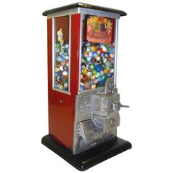 Coin-operated gumball machine, Master 1 Cent, red & black porcelain, c.1920's, VG cond w/key, 16 H x