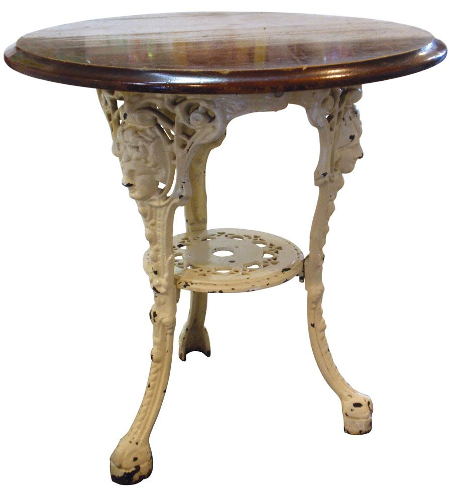 Drug Store Soda Fountain Table, Painted Fancy Cast Iron Base W/wood Top,.  Loading Zoom