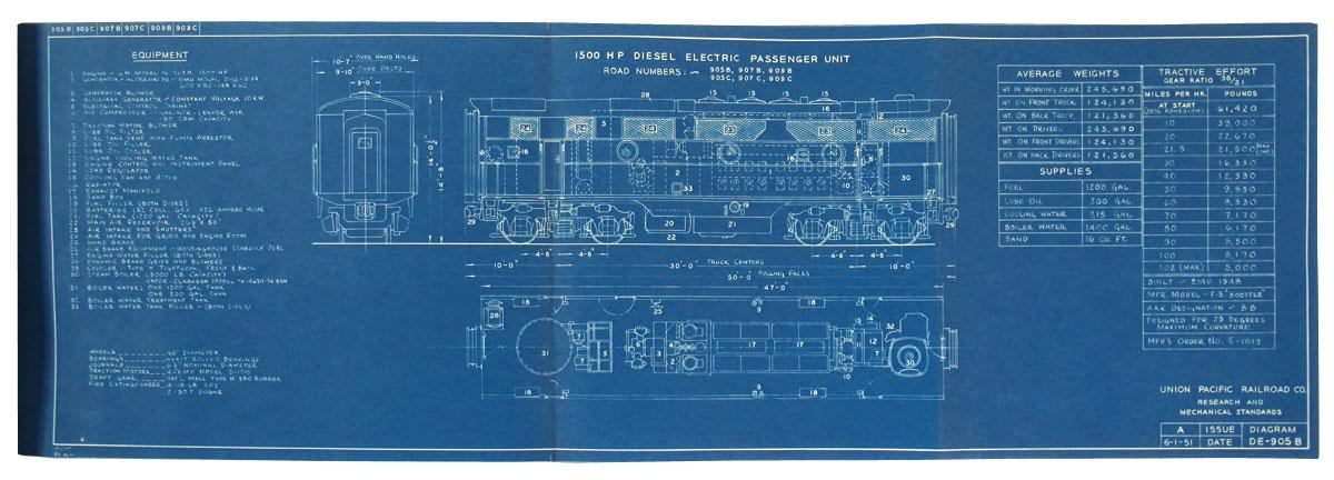 Union Pacific Railroad Co  blueprints of Diesel Electric Unit Diagrams,  Proposed 8500 HP Gas Turbine