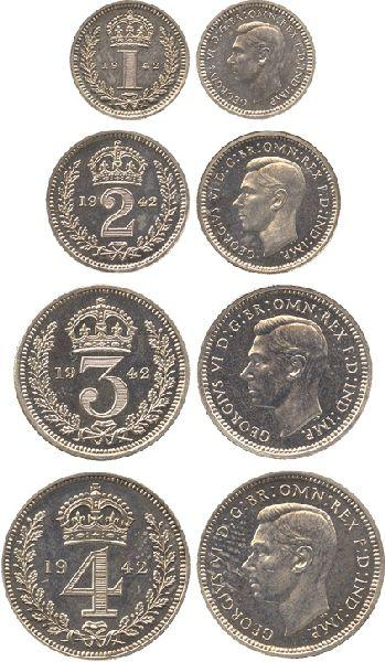 COINS  BRITISH COINS  Maundy Sets  George VI (1936-1952), Maundy Set, 1942,  in an original red dated