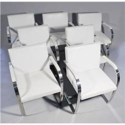 A Set of Seven Mies van der Rohe for Knoll Brno Chairs with White Leather Upholstery on Chrome Steel