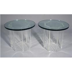 A Pair of Attributed to Karl Springer Lucite and Glass Side Tables.