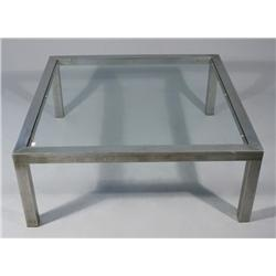 A Contemporary Stainless Steel Low Table.