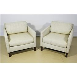 A Pair of Dunbar Upholstered Club Chairs.