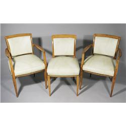 Three French Deco Chairs, Comprising of Two Armchairs and One Side Chair.