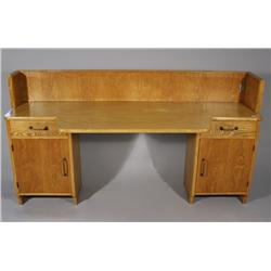 A Contemporary French Oak and Pine Desk.