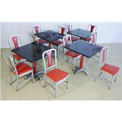 A Set of Ten Alcraft Aluminium Chairs and Four Tables, Aluminium Company of America.