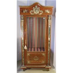 An Empire Style Mahogany and Walnut Vitrine, with Green Marble and Figural Brass Elements.