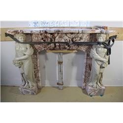 A Neoclassical Style Carved Marble Mantle with Figural Supports.