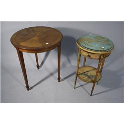 A Biedermeier Style Side Table, Together with a Louis XV Style Two Tier Side Table.