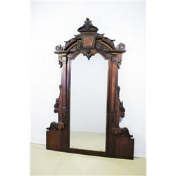 A 19th Century American Walnut Renaissance Revival Mirror, Lacking Lower Section, Attributed to Hert