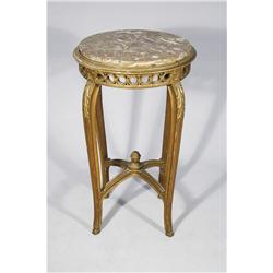 A Louis XV Style Giltwood Gueridon with Marble Top.