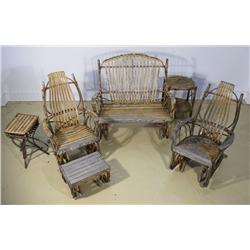 A Seven Piece Adirondack Porch Furniture Set,