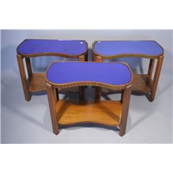 Three Art Deco Side Tables with Mirrored Blue Tops.