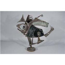 Artist Unknown (20th Century) A Brutalist Welded Metal and Glass Sculpture of a Fish, Dated '65 with