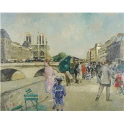 Francois Gall (French, 1912-1987) Strolling Along the Seine, Oil on Canvas,