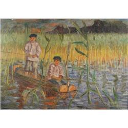 Nikolai Petrovich Bogdanov-Belsky (Russian, 1868-1945) In the Cattails, Oil on Canvas,