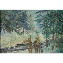 Artist Unknown (19th/20th Century) Snow Scene with Children, Oil on board,