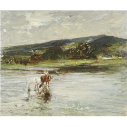 John Dirk Bowie (1860-1914) Figures in a Landscape with River, Oil on canvas,