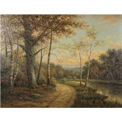 George Fields (American, 19th/20th Century) A Winding Road, Oil on canvas,
