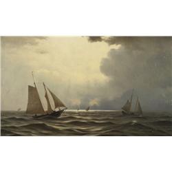 William Frederik de Haas (Dutch/American, 1830-1880) Ships at Sea, Oil on canvas,