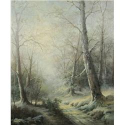 Ray Summer (American, 20th Century) Winter Scene, Oil on canvas,
