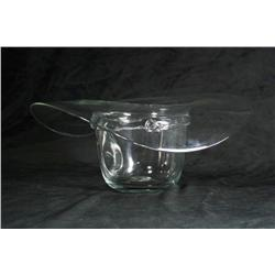 A Blenko Clear Glass Vase in the Form of a Cowboy Hat.