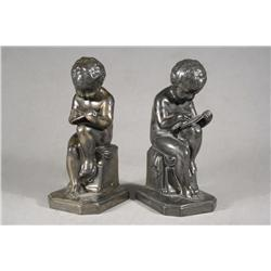 Two Figural Silver Plated Bookends.