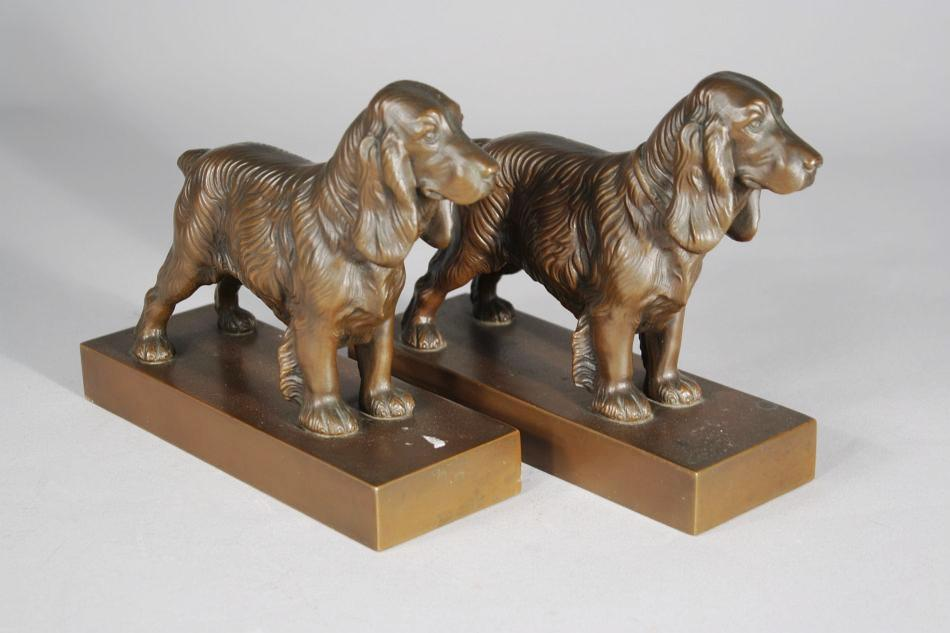 A Pair of Jennings Brothers Copper Spaniel Bookends
