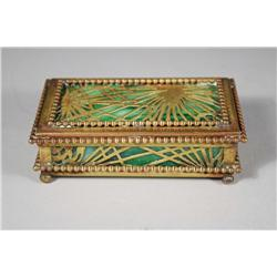A Tiffany Studios Bronze Box in the Pine Needle Pattern, Over Green and White Glass.